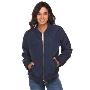 Women Lightweight Long Sleeve Zip Up Casual Bomber Jacket - Dark Blue / L - Free Shipping - Fashion - Clothing - $49.00 | The Pamplemousse