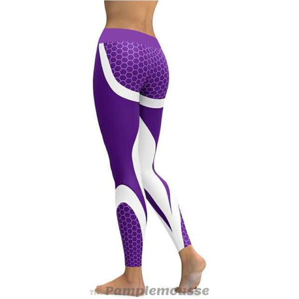Women Mesh Pattern Print Push Up Fitness Gym Sports Leggings Running Pants Stretch Workout Trousers - Purple / L / Full - Free Shipping -