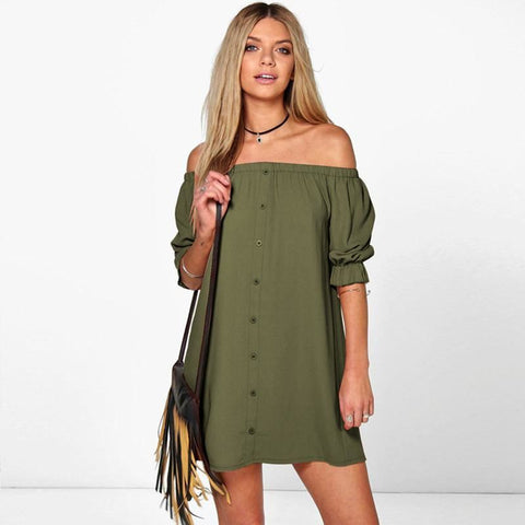 Women Off Shoulder Bohemian Style Beach Short Sundress - Green / S - Free Shipping - Fashion - Clothing - $17.00 | The Pamplemousse