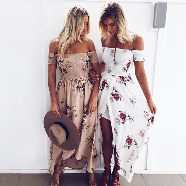 Women Off Shoulder Bohemian Style Long Maxi Chiffon Floral Print Summer Beach Dress - Khaki / S - Free Shipping - Fashion - Clothing -