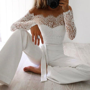 Women Off Shoulder Summer Sexy Jumpsuit - White Long Sleeves Bodysuit - White / S - Free Shipping - Fashion - Clothing - $25.00 | The