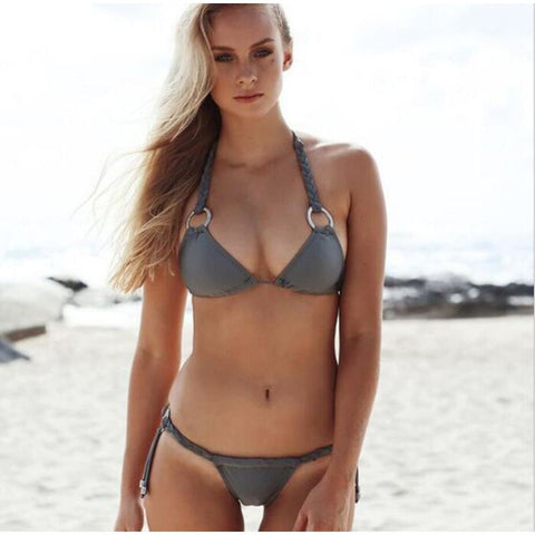 Women Sexy Low Waist Metal Ring Knitting Padded Gather Push-Up Bikini Set - Gray / S - Free Shipping - Fashion - Clothing - $25.00 | The