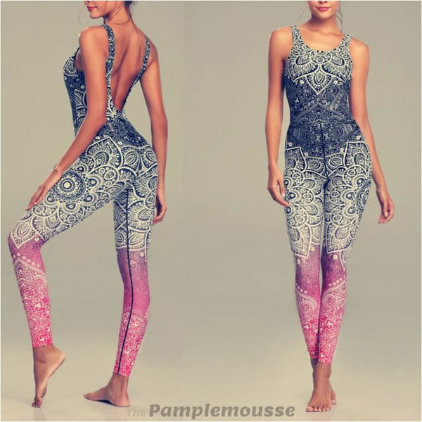 Women Sexy Mandala Print Yoga Set Fitness Sports Running Jumpsuit - Black / L - Free Shipping - Sports - Clothing - $29.00 | The