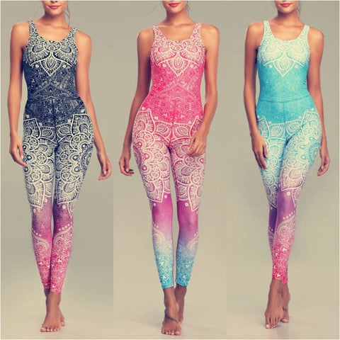 Women Sexy Mandala Print Yoga Set Fitness Sports Running Jumpsuit - Free Shipping - Sports - Clothing - $29.00 | The Pamplemousse