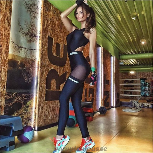 Women Sexy Mesh Fitness Yoga Set One-Piece Gym Running Jumpsuits Backless Padded Bra Black Tracksuit Overall - Free Shipping - Sports -