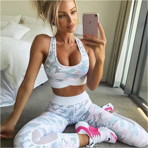 Women Sexy Yoga Sports Bra Pants Set Yoga Outfits High Impact Leggings Workout Bra Camouflage Printing Sport Suit Gym Set - Pink / L - Free