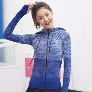 Women Sport Top Running Hooded Jacket Long Sleeve Yoga Shirt - Blue / S - Free Shipping - Fashion - Outdoor - $29.00 | The Pamplemousse