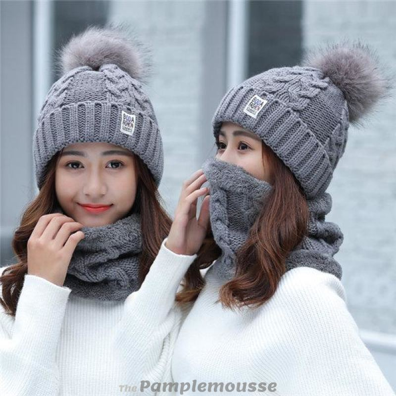 Women Warm Big Fur Pom Ball Beanie Hat And Scarf Set - Gray - Free Shipping 394c4b9202e