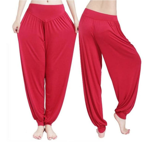 Womens Harem Long Pants Hippie Wide Leg Yoga Dance Boho Loose Palazzo Trousers - Red / S - Free Shipping - Sports - Clothing - $15.00 | The