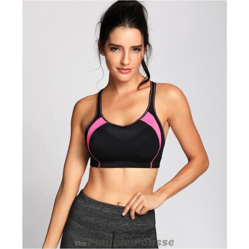 58f5f42775851 Womens High Impact Mesh Padded Cup Cross Back Gym Active Push Up Sports Bra  - Free