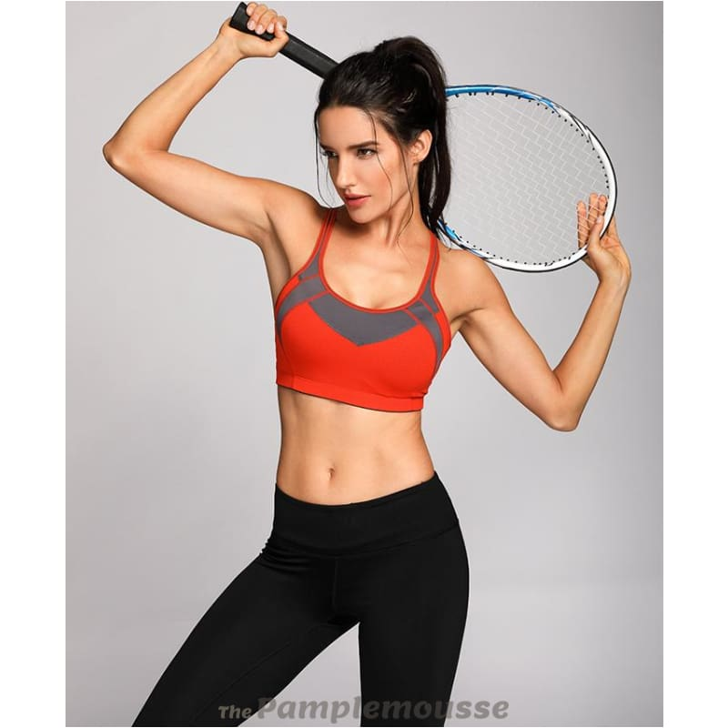 3ce2900dc6 Womens High Impact Mesh Padded Cup Cross Back Gym Active Push Up Sports Bra  - Free