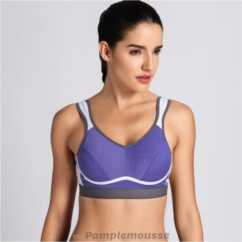 10966a72bb4c4 Womens High Impact Support Bounce Control Workout Plus Size Sports Bra -  Blue   B