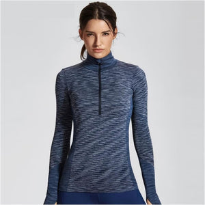 Womens High Neck Pullover Long Sleeve Sports Running Top With Thumbholes - Navy Blue / Xs - Free Shipping - Sports - Clothing - $39.00 | The