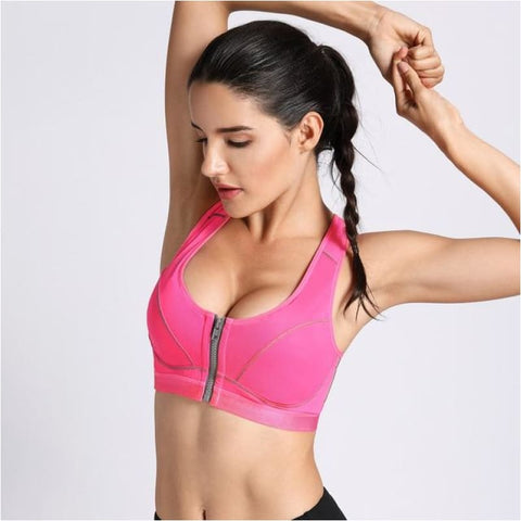 Womens Maximum Support High Impact Front Closure Racerback Sports Top Bra - Pink / B / 34 - Free Shipping - Sports - Clothing - $19.00 | The