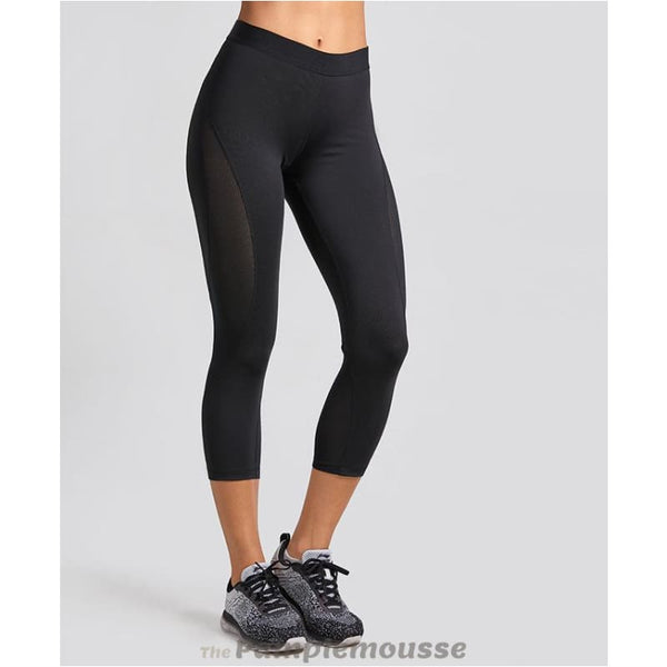 Womens Slimming Mesh Training Capri Leggings Sports Cropped Tights Workout Pants - Black / S - Free Shipping - Sports - Clothing - $25.00 |