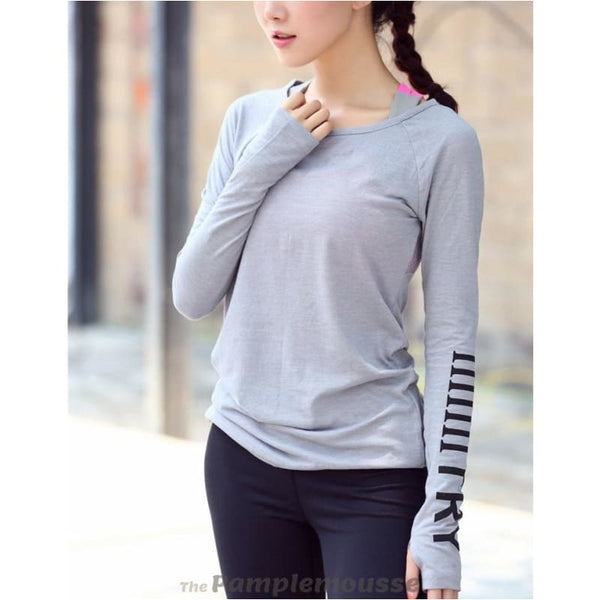 Womens Sports Top Running Jacket Fitness Breathable Long Sleeve Yoga Shirt - Gray / L - Free Shipping - Sports - Clothing - $19.00 | The