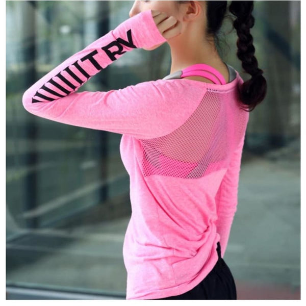 Womens Sports Top Running Jacket Fitness Breathable Long Sleeve Yoga Shirt - Pink / L - Free Shipping - Sports - Clothing - $19.00 | The