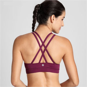 Womens Strappy Back Wirefree Padded Workout Yoga Sports Bra - Free Shipping - Sports - Clothing - $19.00 | The Pamplemousse