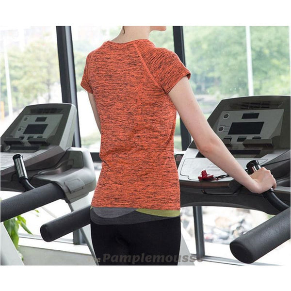 Womens Yoga Shirt Fitness Running Sports T-Shirt Quick Dry Breathable Exercises Short Sleeve Top - Orange / L - Free Shipping - Sports -