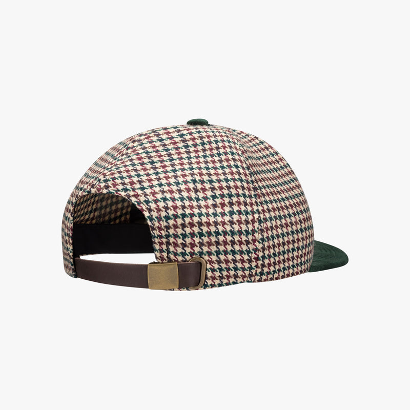 Houndstooth Wool & Velveteen Hat - Beige/Green