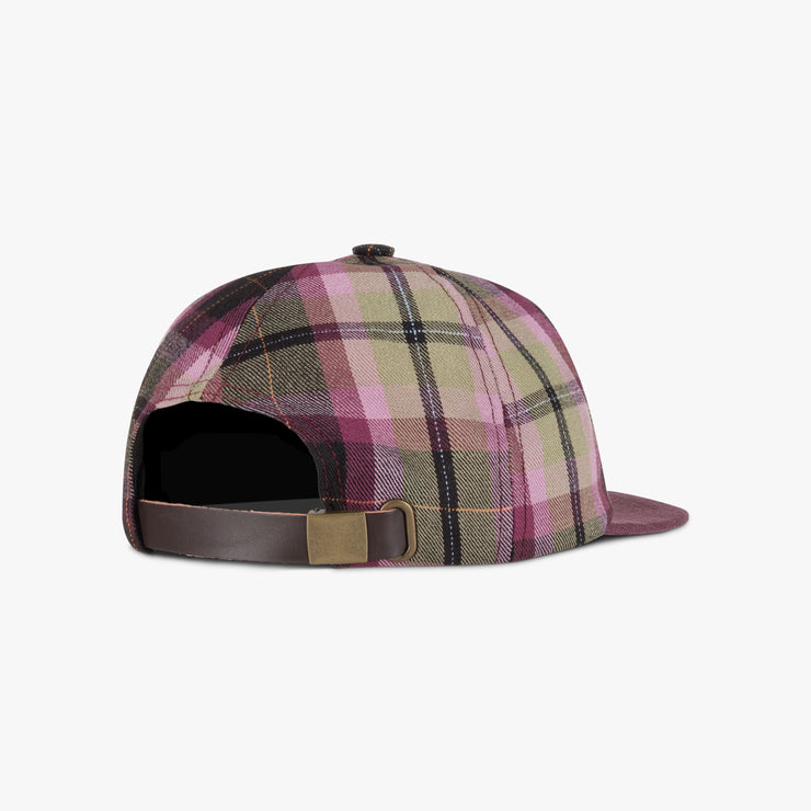 Purple Plaid & Linen Brim Hat