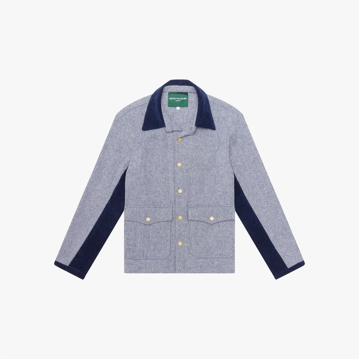 PRE-ORDER: Herringbone Tweed & Corduroy Jacket - Navy/White
