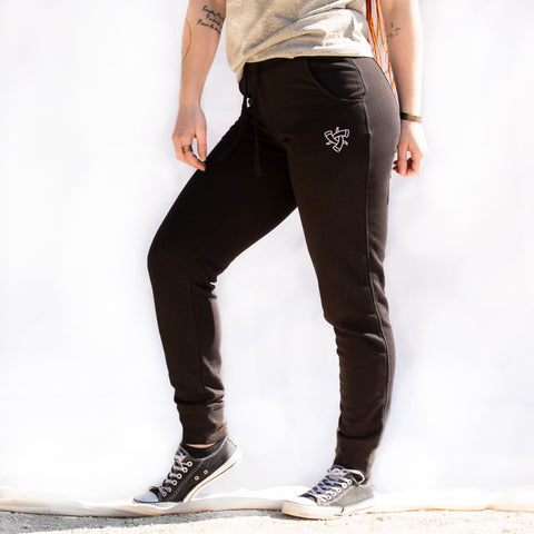 Black Embroidered Jogging pants (Women's)