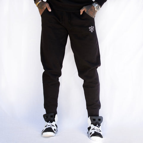Black Embroidered Jogging Pants (Men's)