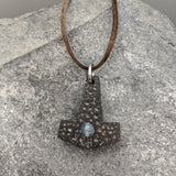Battle worn Buffalo Horn with Gemstone Mjölnir pendant