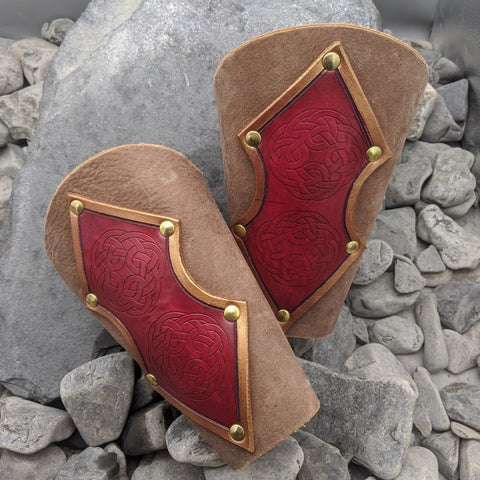 Soft Leather Arm Bracers with Red Norse Design