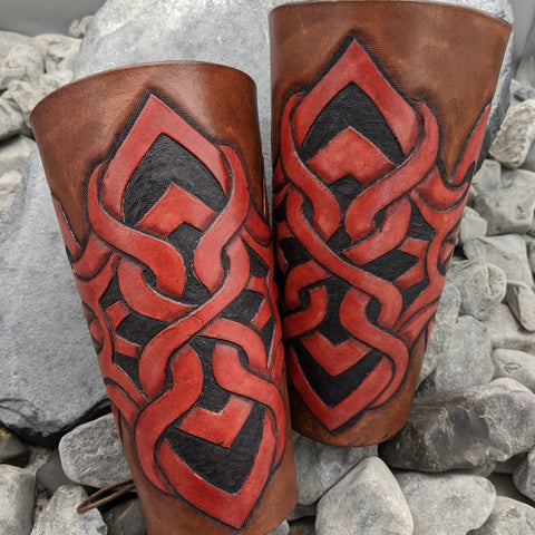 Hand Tooled Norse Design Full Arm Bracers