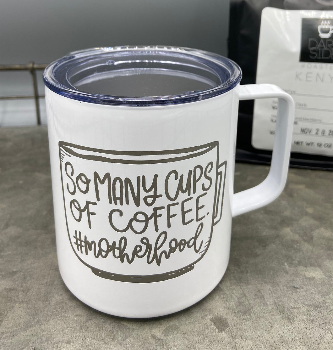 White 14 oz Stainless Steel Mug