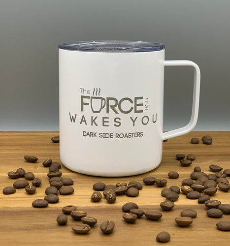 White 14 oz Stainless Steel Mug-Force that Wakes You