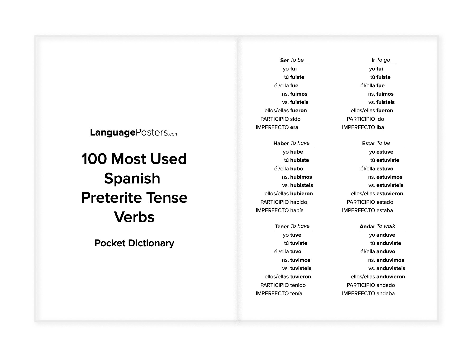 LanguagePosters.com - 100 Most Used Spanish Preterite Tense Verbs Pocket Dictionary Preview