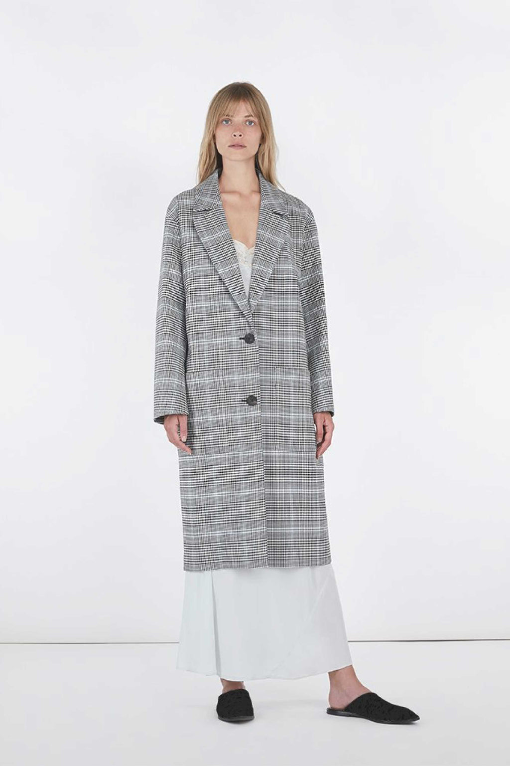 VERONICA GLENPLAID OVERSIZED BOYFRIEND COAT - GREY GLENN PLAID