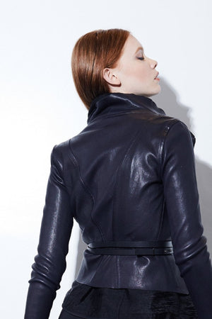 DRAPE LEATHER JACKET