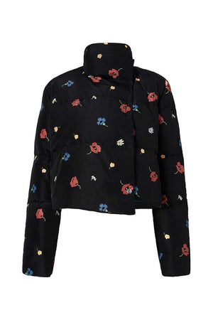 SHORT FLORAL PUFFER - BLACK MULTI