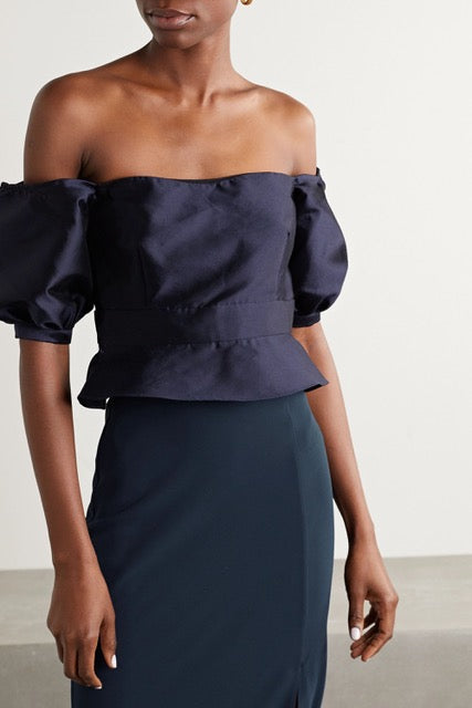 CLEMENCE OFF THE SHOULDER CORSET TOP - NAVY