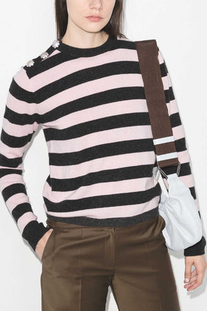 EMBELLISHED STRIPE CASHMERE SWEATER - LILAC/BLK