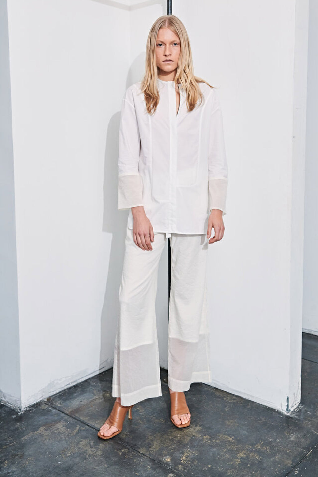 GLAZED CINCH PANT in OFF WHITE