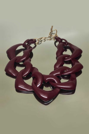 AMORE RESIN NECKLACE - PRUNE