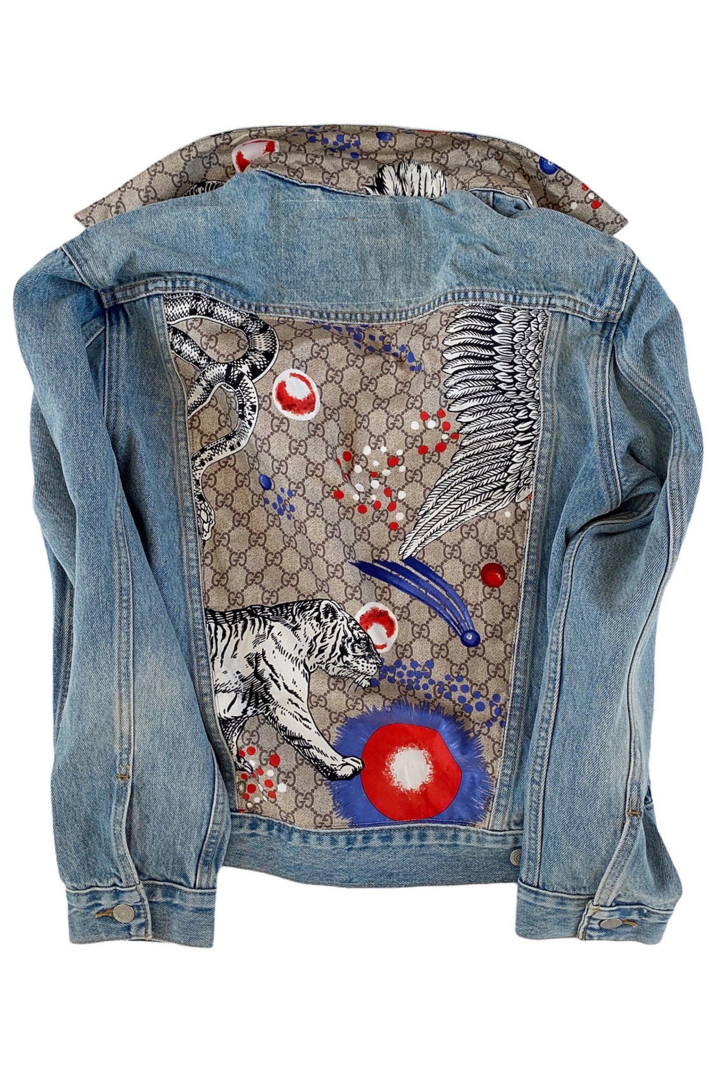 GUCCI GG MONOGRAM ANIMAL SCARF DENIM JACKET