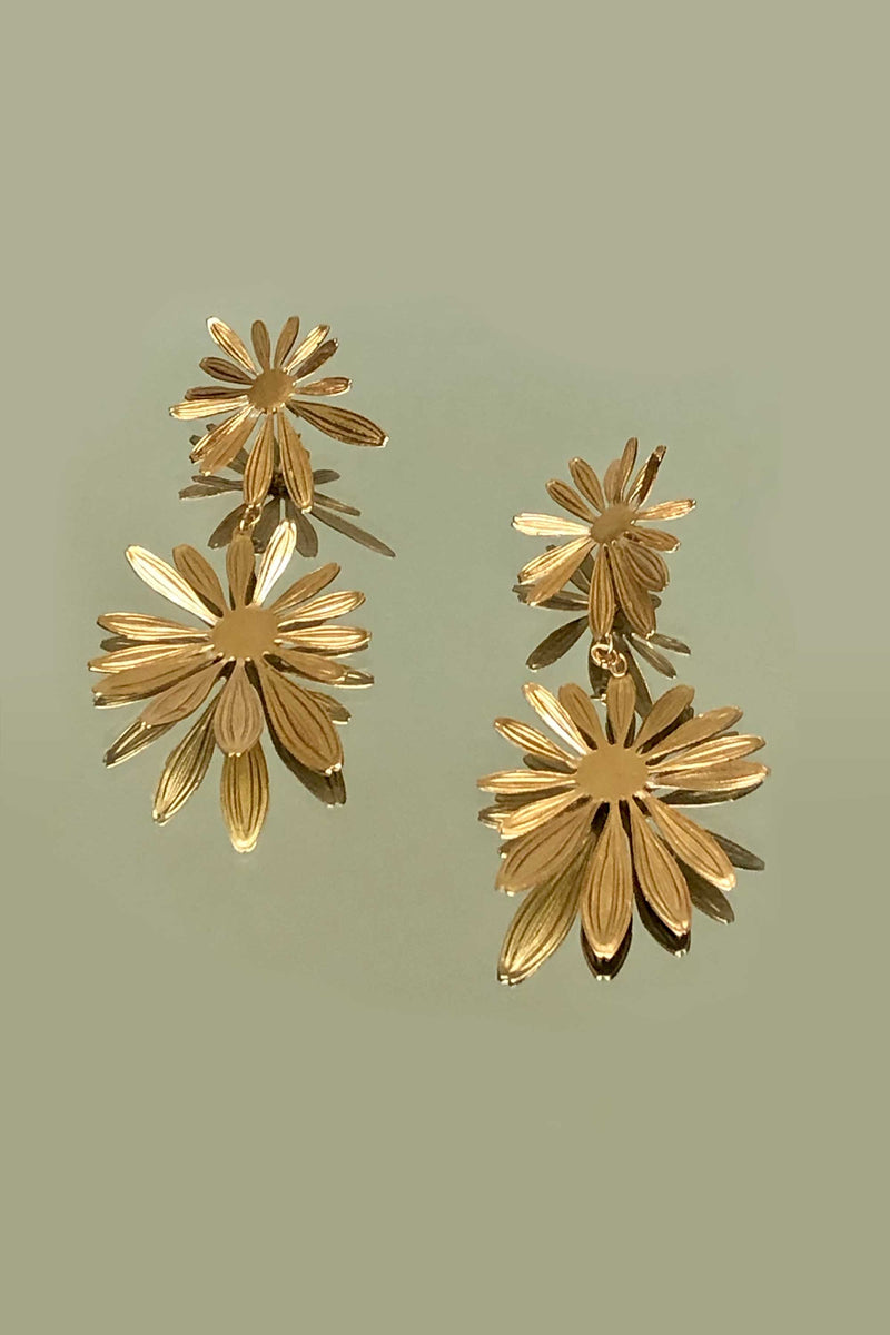 DOUBLE FLEUR EARRINGS  - GOLD