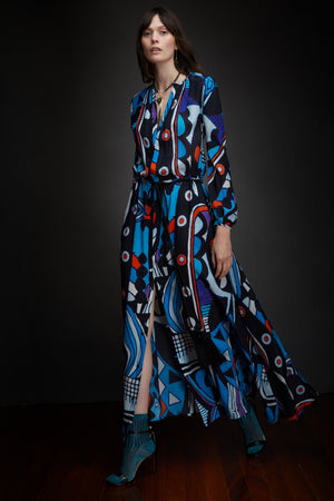 DOVES DRESS - BLUE MULTI