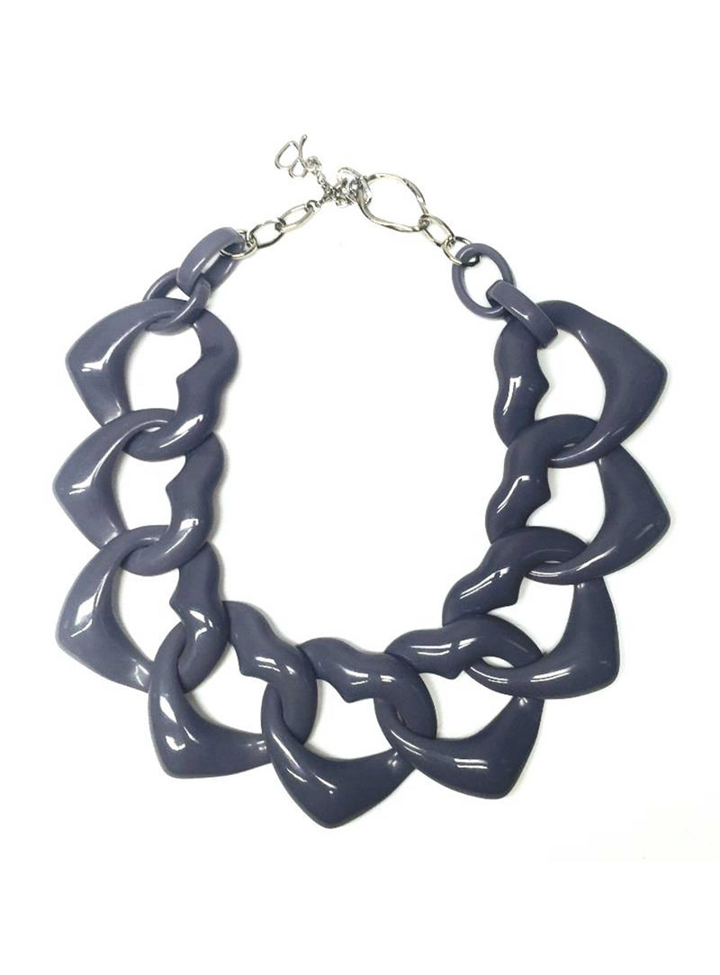 AMORE MEDIO RESIN NECKLACE - CADET GREY