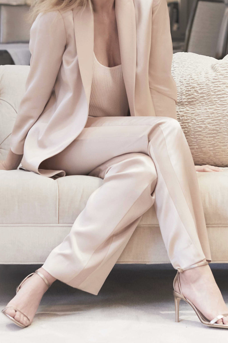 PULL ON SILK TUXEDO PANT - CREME BLUSH