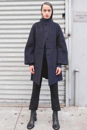 AMIDA REVERSIBLE KIMONO SLEEVE COAT - BLACK / NAVY