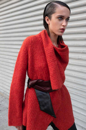 DRAPED COWL CARDIGAN - VERMILLION