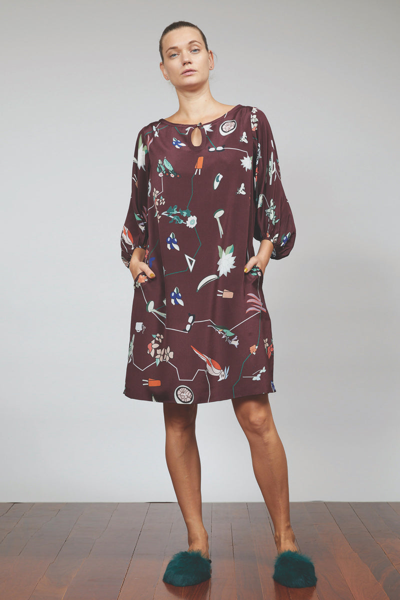 GOLD DUST WOMAN DRESS - BURGUNDY MULTI