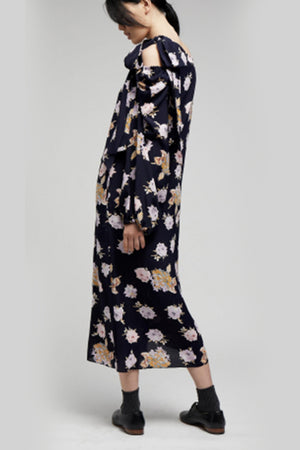 ASYMMETRIC SHOULDER TIE DRESS in NAVY FLORAL